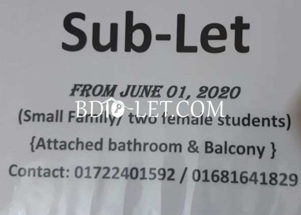 Sublet with family Rent At Sukrabad